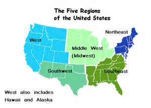 map of the 5 regions of the united states fiveregionsthirdgrade lesson plans