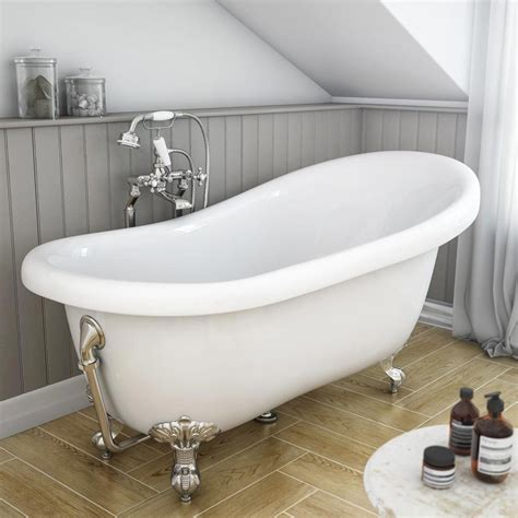 victorian bathtubs astoria roll top slipper bath chrome leg set 1550mm