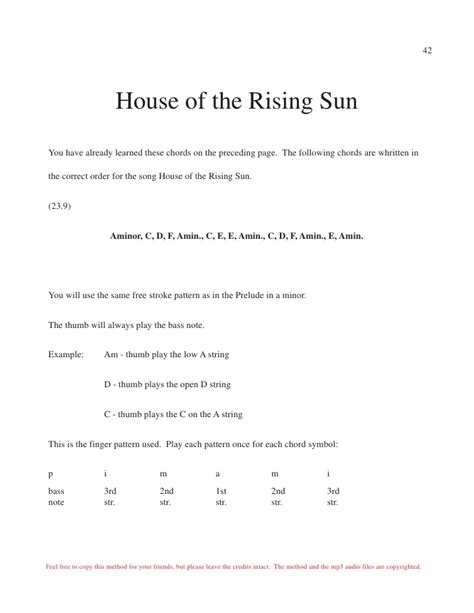 strumming pattern house of rising sun ebook pdf guitar learn how to play the guitar