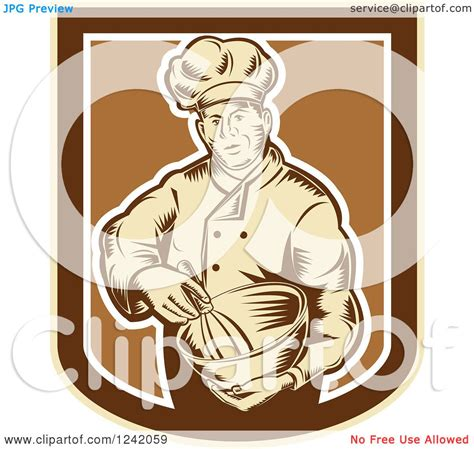 clipart of a retro woodcut clipart of a retro woodcut baker with a mixing bowl