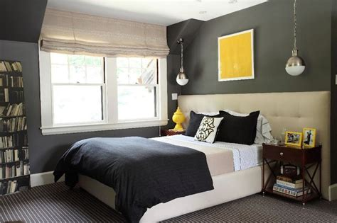 navy grey and yellow bedroom wide headboard contemporary bedroom liz caan