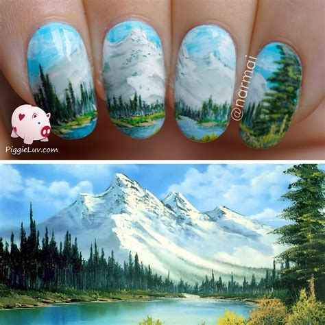 bob ross painting in museum piggieluv nail inspired by a bob ross painting