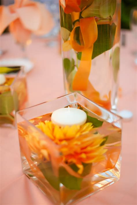 Centerpieces Flowers Emerged In Water Ribbon Was Added Candle Centerpieces For Birthday