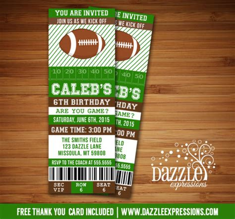 free printable football ticket invitation template printable football ticket birthday invitation can be
