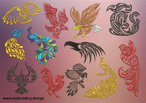 tattoo embroidery designs variations of birds pack of embroidery designs