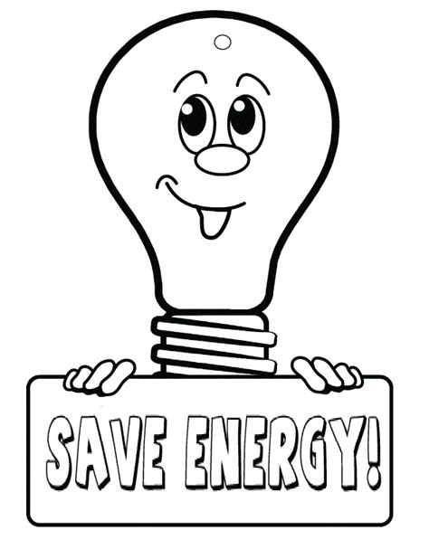 coloring pages of save energy coloring