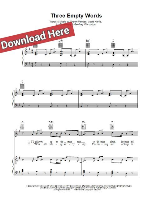 Empty Apartment Piano Chords Shawn Mendes Three Empty Words Sheet Piano Notes