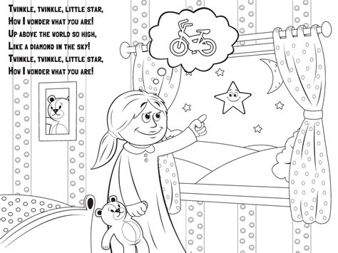 Language Nursery School Hey Diddle Diddle Twinkle Twinkle Coloring Page