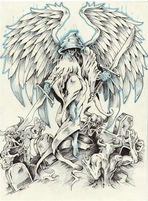 angel and demon tattoo drawings badass tattoos sketches badass angel tattoo cool
