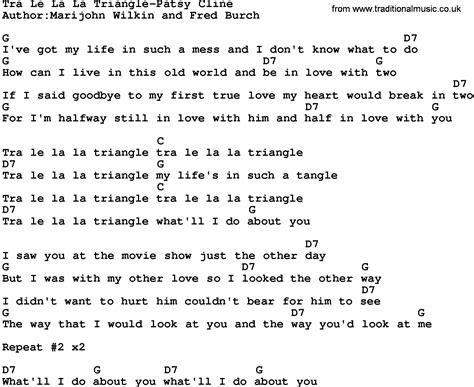 In L Lyrics by Country Tra Le La La Triangle Patsy Cline Lyrics And