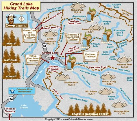 hiking maps hiking grand lake colorado trail ridge marina