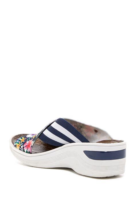 bzees desire stripe floral wedge sandal in blue lyst