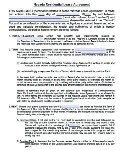 Nevada Residential Lease Agreement Template Free Nevada Residential Lease Agreement Form Pdf Template