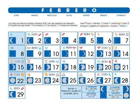 Calendario Lunar Febrero 2017 Calendario Lunar Febrero De 2016