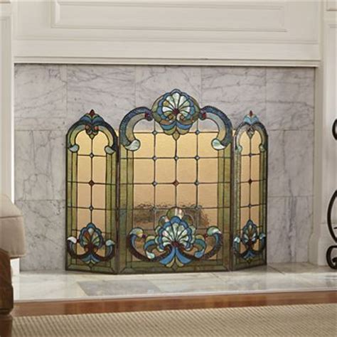 Green Seashell Stained Glass Fireplace Screen From Through Stained Glass Fireplace Doors