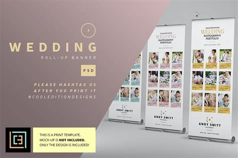 Wedding Pull Up Banner by Wedding Roll Up Banner 3 Flyer Templates Creative Market