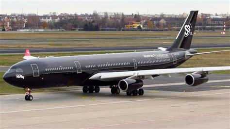 Black Airbus hifly airbus a340 300 all black 9h tqm heavy takeoff from berlin tegel txl hd
