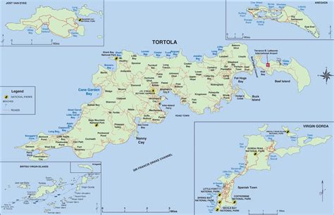 bvi map detailed map of tortola islands