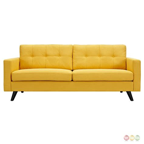 mid century modern tufted sofa uma mid century modern yellow fabric button tufted sofa w