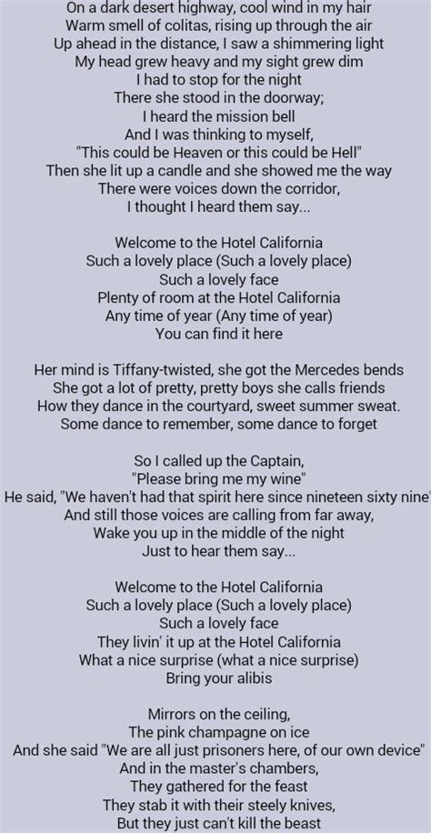 printable lyrics hotel california 17 best images about song lyrics with cords on