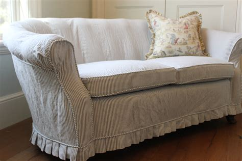 unique slipcovers custom slipcovers by shelley blue pinstripe loveseat