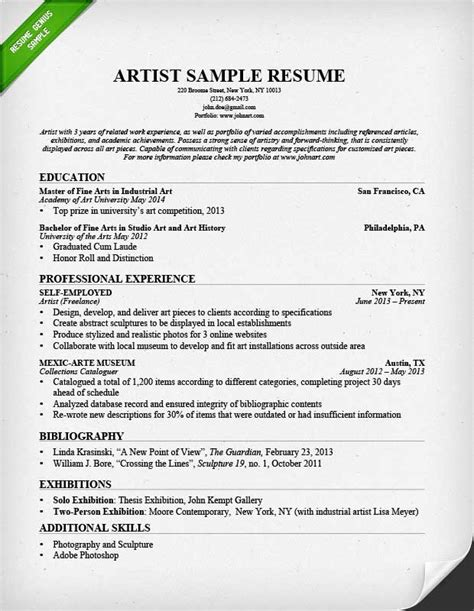 resume for arts student artist resume sle writing guide resume genius