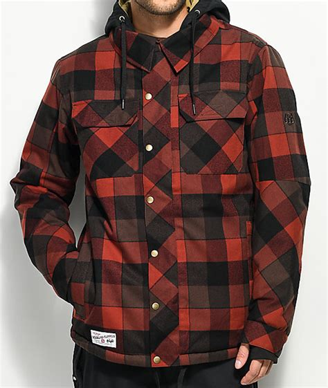 army patterned ski jacket 686 woodland red plaid 10k snowboard jacket zumiez