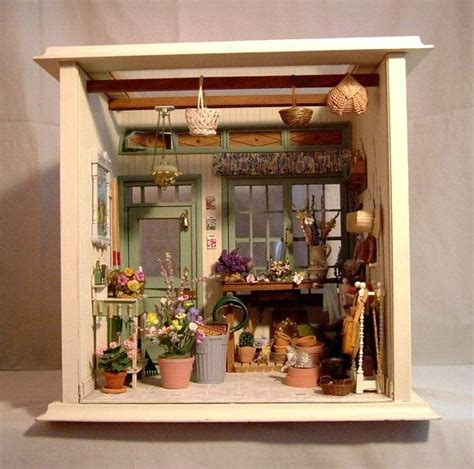 doll house shed miniature potting shed room box dollhouse miniatures just tiny stuff pinterest