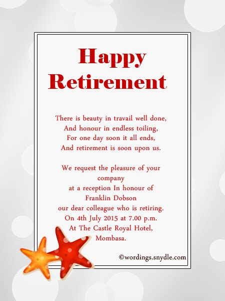retirement card template retirement invitation wording ideas and sles