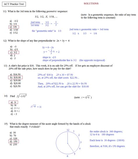 act worksheets math plane act practice test 1