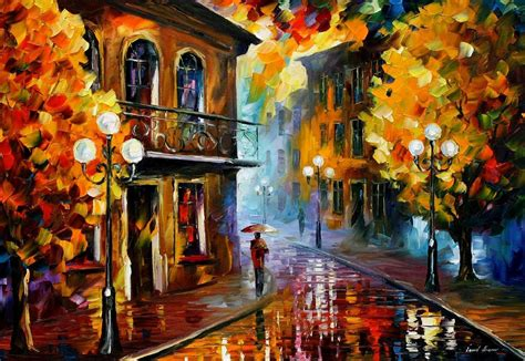 artwork for home fall rain 2 original oil painting on canvas by leonid