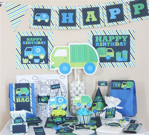 diy printable party decorations garbage truck birthday decorations recycle truck diy