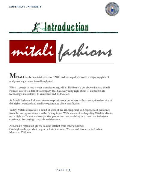 industrial attachment of mitali fasions ltd