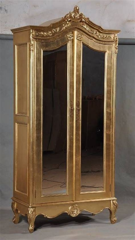 mirror armoire wardrobe solid mahogany gilt gold leaf french ornate mirrored