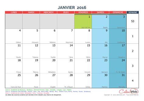 Calendrier 2016 Avec Vacances Scolaires Calendrier Mensuel Mois De Janvier 2016 Avec F 234 Tes