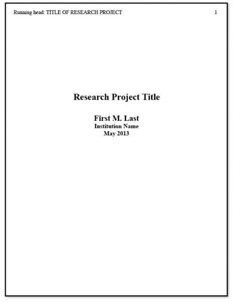 Exles Of Cover Pages For Essays by Apa Title Page Writing A Research Paper