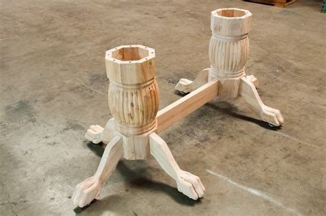 wood table pedestal leg set