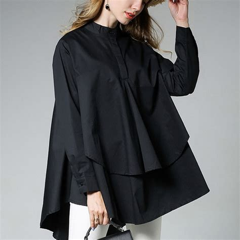 Jaqueer Ruffle Blouse Be2841 01 Black Blouse womens asymmetrical hem blouse blouses asymmetrical sleeve ruffle shirt black