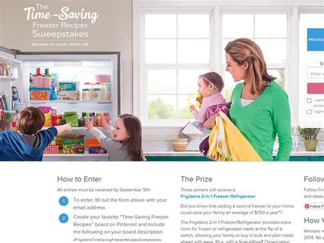 Recipe Com Sweepstakes - frigidaire time saving freezer recipes sweepstakes
