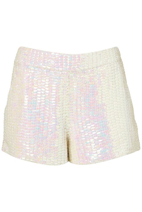 Topshop Smart Shorts by Lyst Topshop Premium Mermaid Sequin Shorts In White