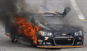 alex bowmans car tire catches fire  nascar race   hampshire daily mail