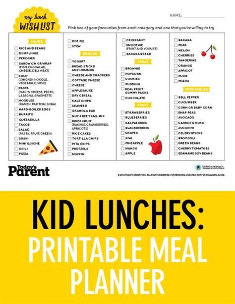 school lunch planner printable school lunch planners