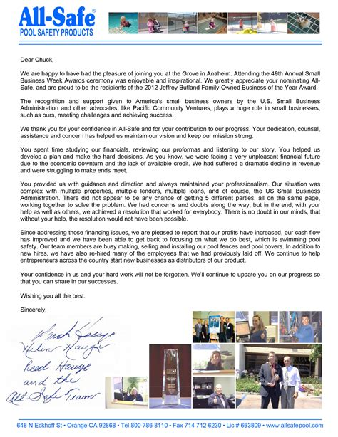 Financial Planner Thank You Letter thank you letter to pcv advisor chuck sinks pacific