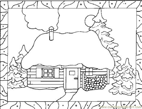 snowy house coloring pages free house in snow winter coloring pages