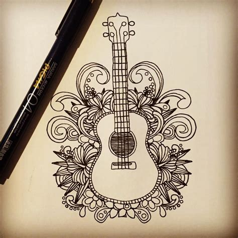 tattooed heart guitar tutorial guitar doodle drawing design art tattoos pinterest