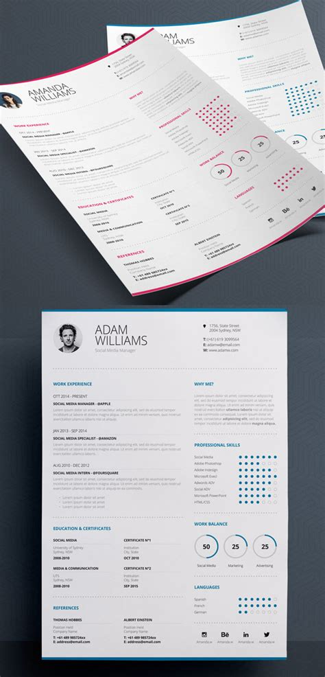 3 Cv Resume Indesign Templates Clean by 18 Professional Cv Resume Templates And Cover Letter