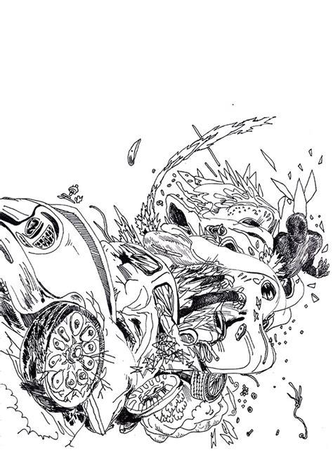 wrecked car drawing car drawing car