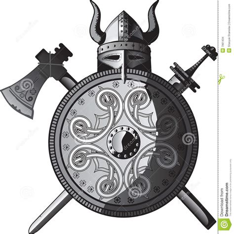 helmet sword axe and shield of vikings stock images