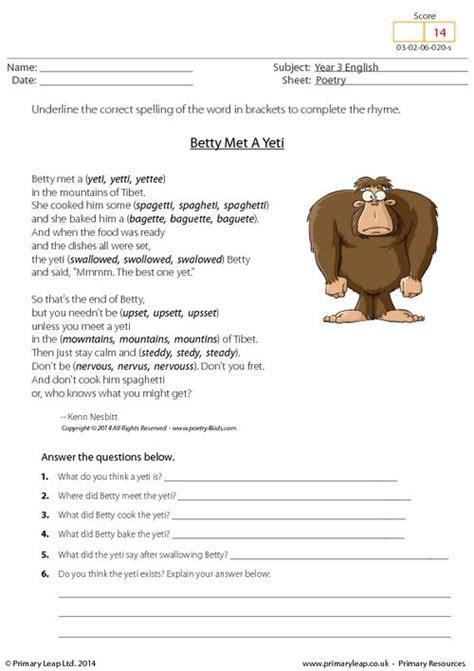 printable english worksheets uk primaryleap co uk comprehension betty met a yeti