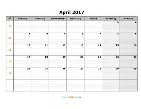 April 2017 Calendar Pdf Weekly Calendar Template Calendar 2017 Template Pdf
